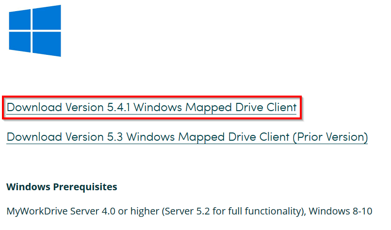 Screenshot to Downlod the Windows Mapped Drive Client