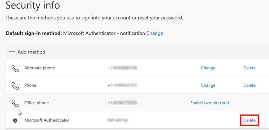 Delete Microsoft Authenticator
