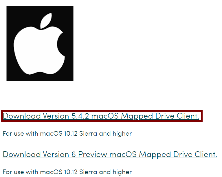 Screenshot of the MyWorkDrive website, with Mac version highlighted.