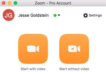 Screenshot of Zoom application