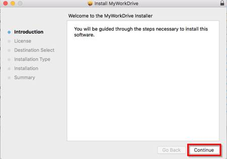 Screenshot of the prompt to install MyWorkDrive  This is the start of the installation process for MyWorkDrive.