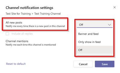 Screenshot of Microsoft Teams Channel Notification Settings > All New Posts Options