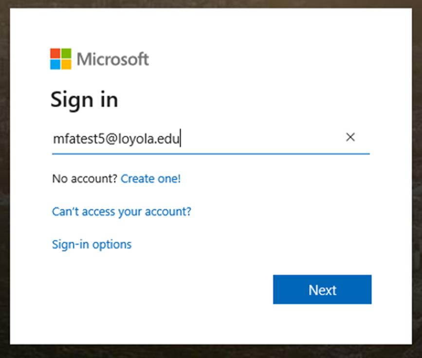 Loyola Username Sign in Screen