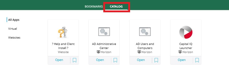 Screenshot of applications in Workspace, highlighting the Catalog link at the top.