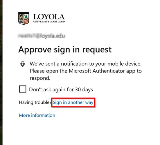 Sign in another way screen