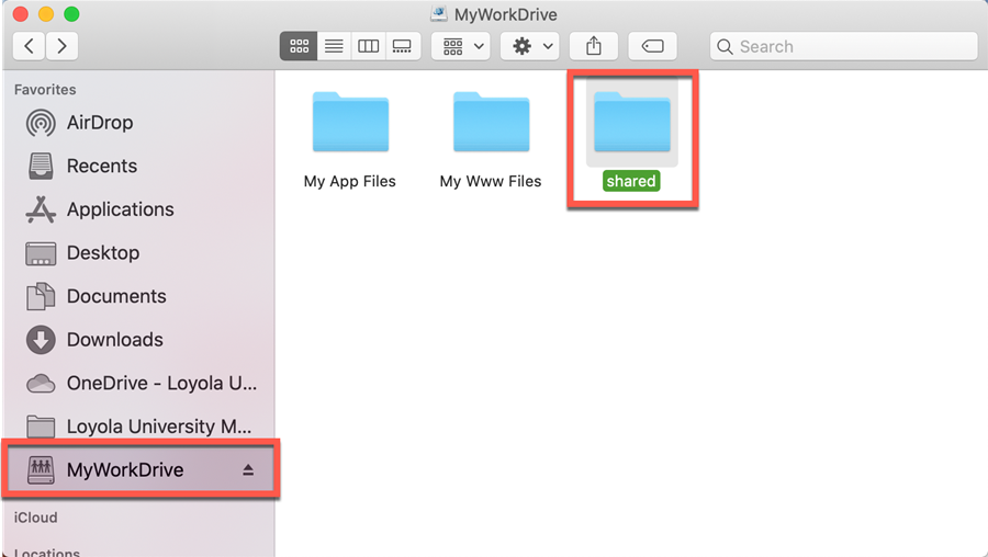 Mac Finder MyWork Drive Shared Folder