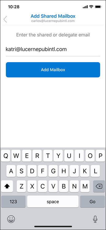Enter shared mailbox email address