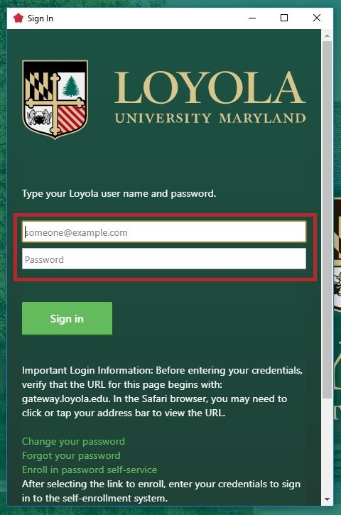 Loyola sign in screen