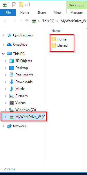Screenshot of the folders in MyWorkDrive