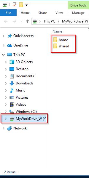 Screenshot of the folders in MyWorkDrive