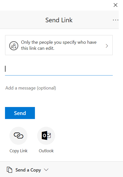 Screen shot of the dialog box for sending a link. Specify permission for editing the document, and choose whether to send an email invitation or copy a link.