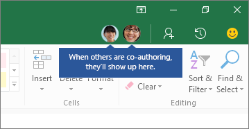 Co-Authoring Users Show in top right hand corner of window