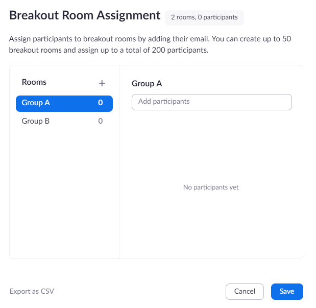 Breakout room assignment pop up screen