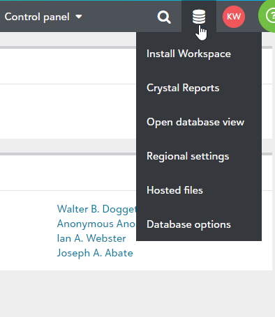 Pancake Menu>Database Options Screenshot of Steps Completed