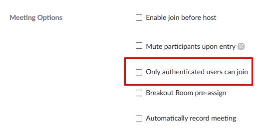 Meeting option list