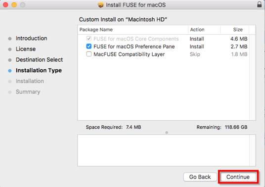 A screenshot of the custom install prompt. Ensure FUSE for macOS Preference Pane is checked and select Continue.