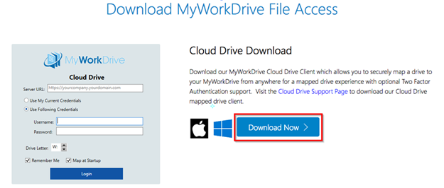 Title: Download MyWorkDrive File - Description: Image of the Download Now button where you can install the MyWorkDrive  Cloud Drive client.