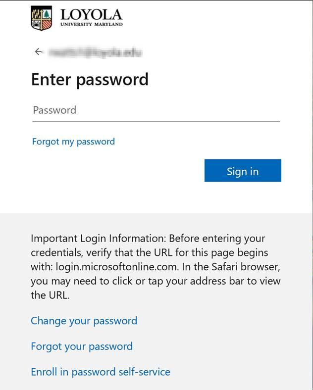 Loyola Enter your password screen