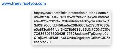 Screenshot showing safe links rewritten hover behavior
