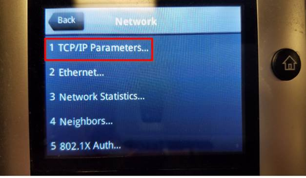 Image to select TCP/IP Parameters