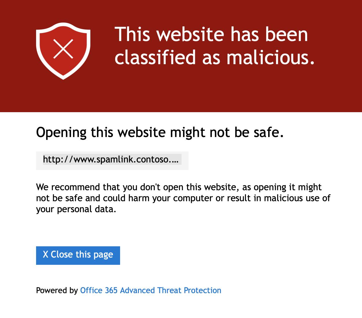 Malicious website warning