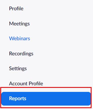 Zoom menu highligting Reports option