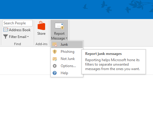 Screenshot of the Outlook Report Message add-in