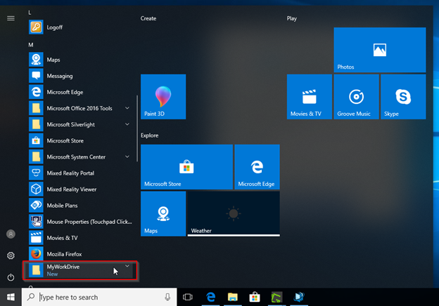 Screenshot of MyWorkDrive on the start menu on Windows