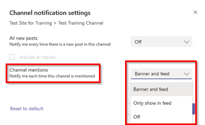 Screenshot of Microsoft Teams Channel Notification Settings > Channel Mention Options