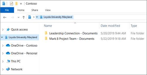 Screenshot of Loyola University Synced Files in File Explorer (PC)