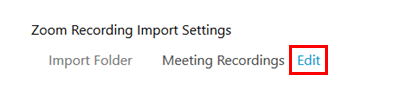 Zoom recording import settings