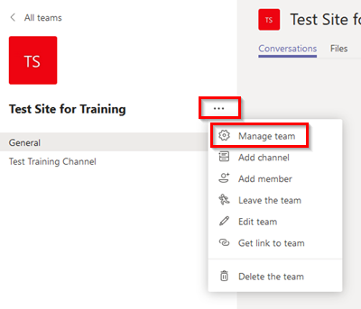 Screenshot of Microsoft Teams Instructions on how to manage a Team. More Options>Manage Team.